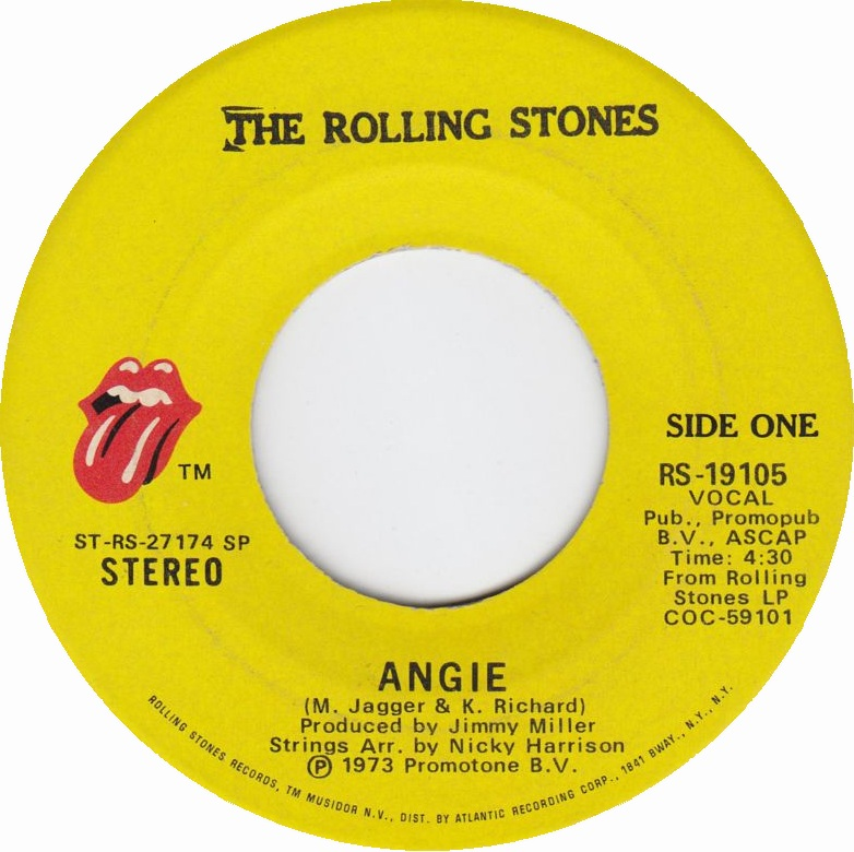 The Rolling Stones - Angie 7-inch label