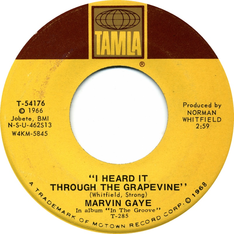 Marvin Gaye - I Heart It Through The Grapevine 7-inch label
