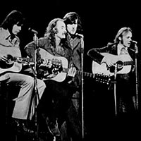 Crosby Stills Nash and Young on stage 1970
