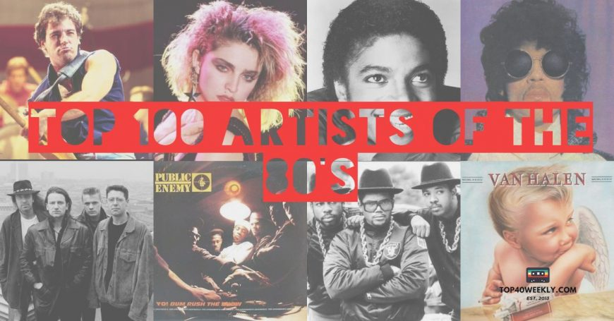 Collage of top 100 artists of the 80s