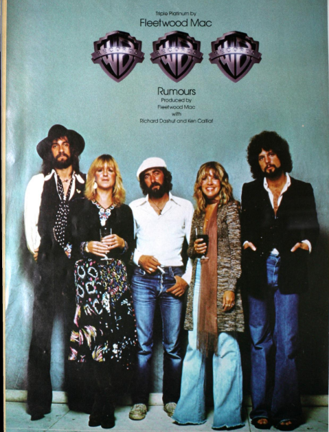 Promotional photo of Fleetwood Mac for June 25th, 1977 issue of Billboard Magazine