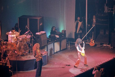 Led Zeppelin performing at Chicago Stadium in 1975